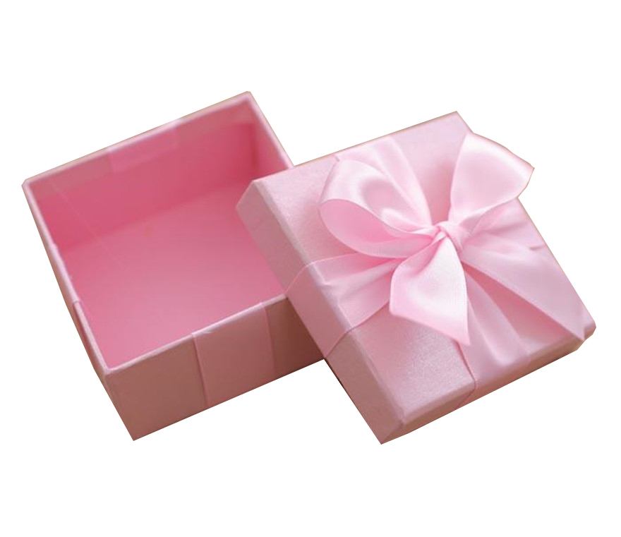 粉色花礼丝带品盒